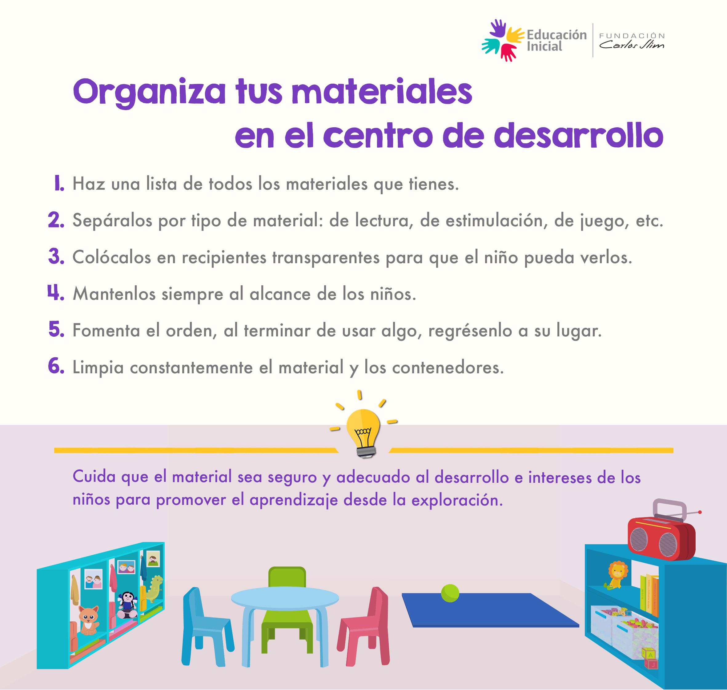 Organiza tus materiales en el centro de desarrollo