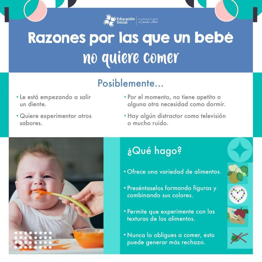Razones por las que un bebé no quiere comer